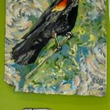 The Red Winged Blackbird and The Rose Breasted Grosbeak on Vintage Linoleum