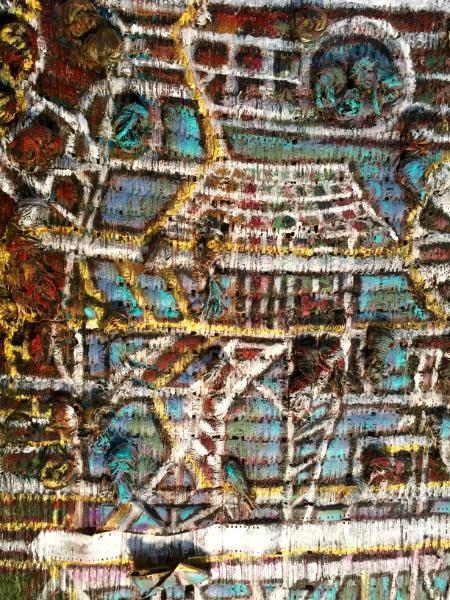 "Detail of woven painting for ""Flight Over Refinery"""